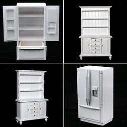 1/12 Dolls House Kitchen Dining Room Wooden Refrigerator & C