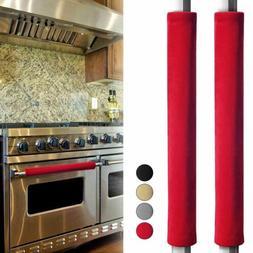 2pcs Refrigerator Handle Cover Smudges Door Oven Kitchen App