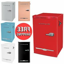 3.2 Cu Ft Retro Style Mini Fridge Compact Small Office Dorm