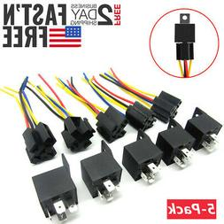 5x 12V SPDT Car Automotive Relay 5-Pin 5 Wires + Harness Soc