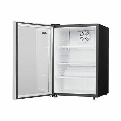 Steel Glass Door Fridge Compact Refrigerator,
