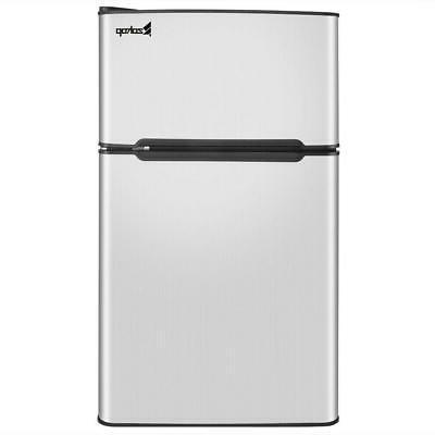 2 door stainless steel compact refrigerator freezer