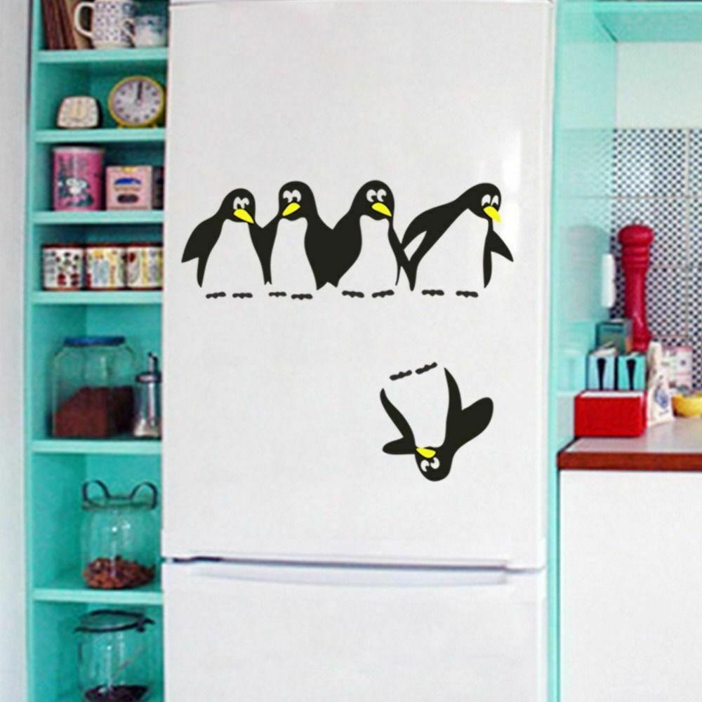 Funny Penguin Kitchen Fridge Sticker Decals Decorative Wall Stickers