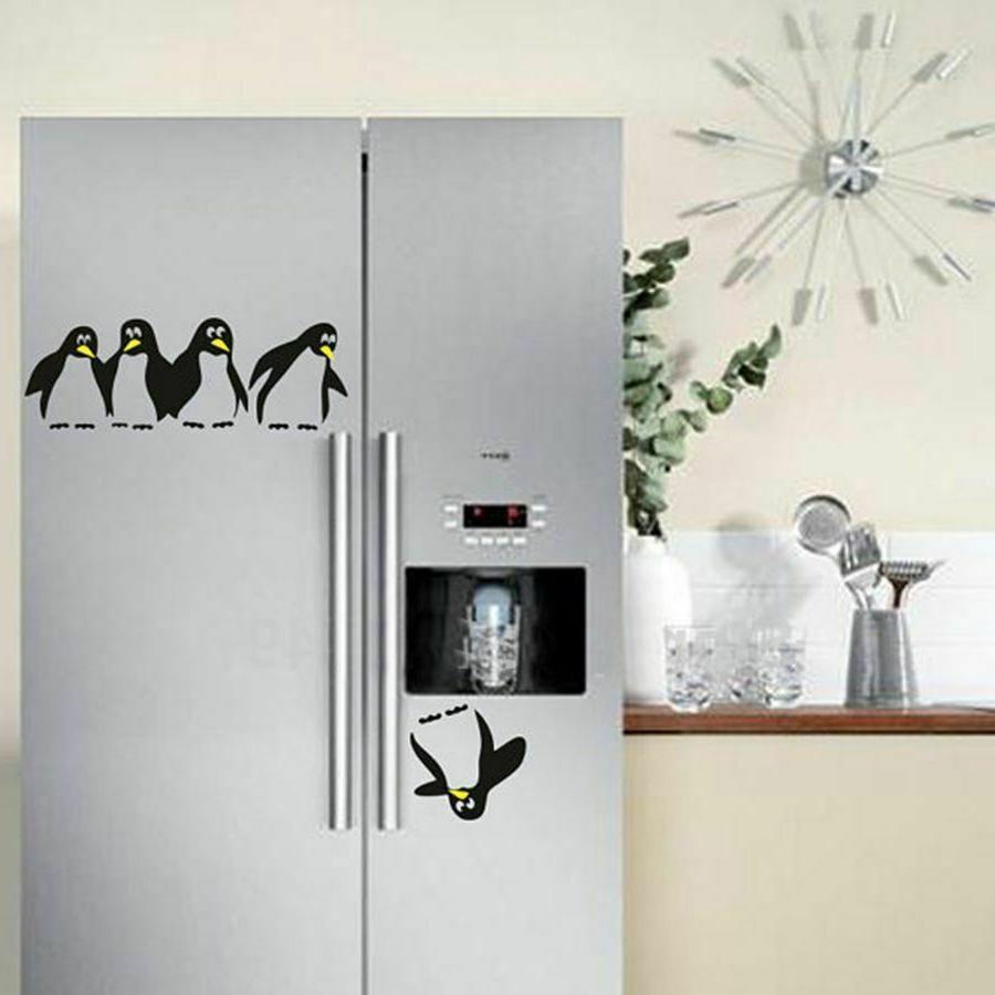 funny penguin kitchen fridge sticker decals dining