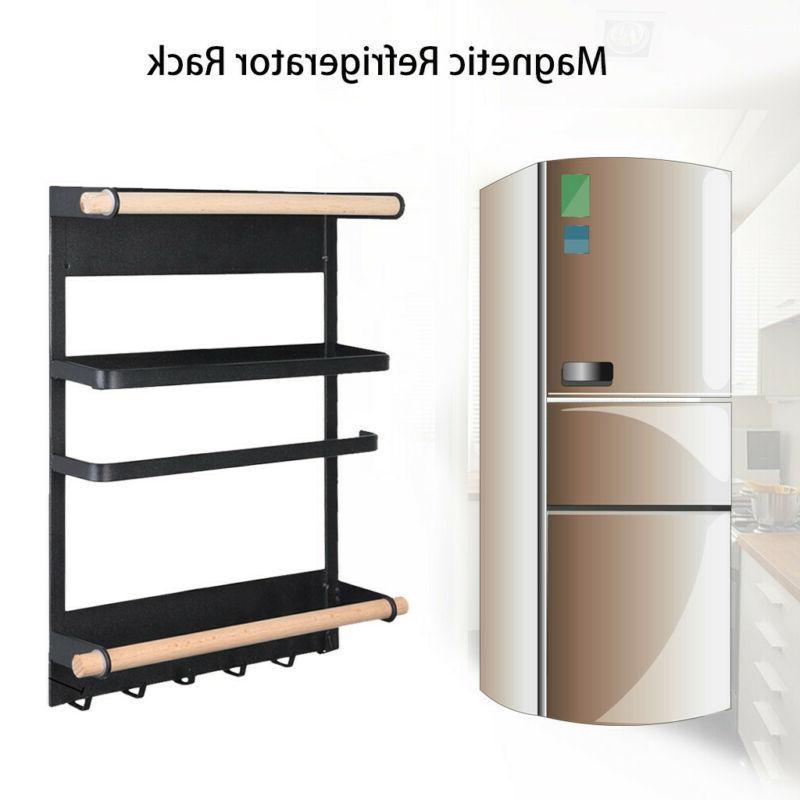 Magnetic Fridge Side Shelf Rack Hook Storage Holder Portable
