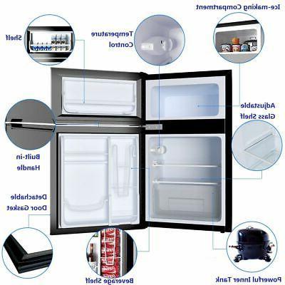 Stainless Steel Refrigerator Freezer Cooler Fridge 3.2 ft.