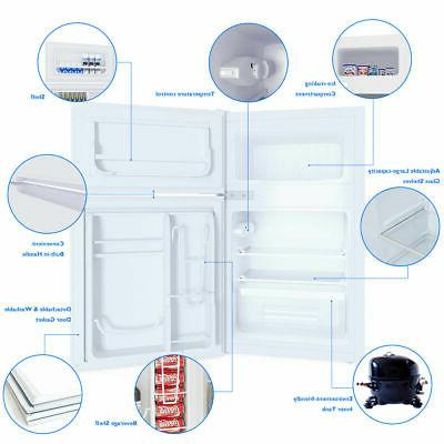 Stainless Steel Refrigerator Small Freezer 3.2 cu Unit