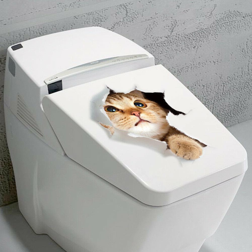 Vinyl Decal cute 3D Cat Bedroom Toilet Restroom Refrigerator
