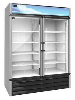 Hoshizaki RM-49, Refrigerator, Two Section Glass Door Mercha