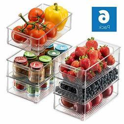 Set Of 6 Refrigerator Organizer Bins - Stackable Fridge Orga